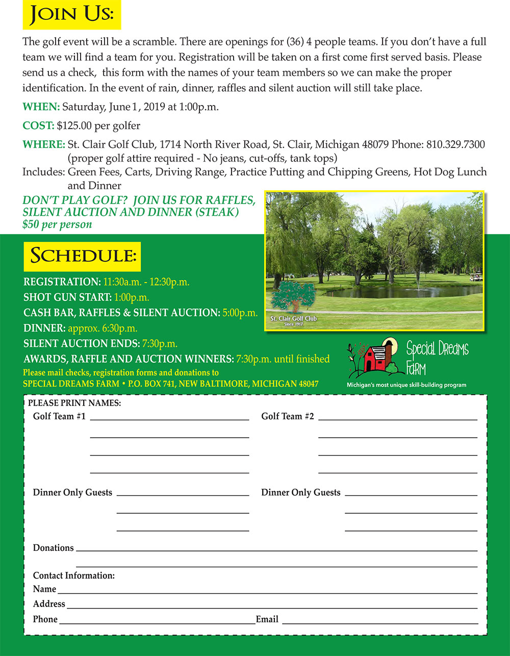Special Dreams Farm Golf Outing